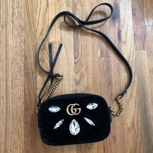 NEW Gucci velvet bejeweled crossbody bag